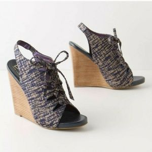 Due Farina Stacked Lace Up Wedges